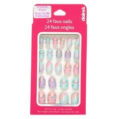 Nail Polish Sets, Nail Set, Fake Nails For Kids, Claire's Fake Nails, Gel Nails, Acrylic Nails, Girls Nail Designs, Accessoires Iphone, Unicorn Nails