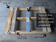 wooden pallet bookshelves | two bookshelves from one pallet each end of the pallet is one book ...