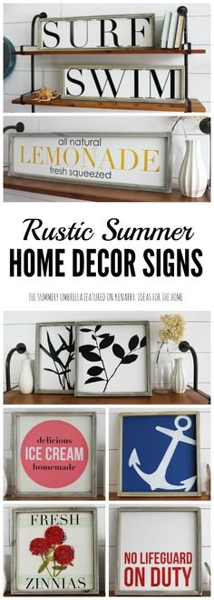 Beautiful rustic summer home decor signs from The Summery Umbrella which offers rustic home decor with a twist of modern appeal.