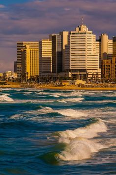 Waves from the Mediterranean Sea with the beach front offer Tel Aviv, Israel. I will go here someday. Terra Santa, Naher Osten, Tel Aviv Israel, Visit Israel, Israel Palestine, Israel Travel, Mediterranean Sea, Holy Land, Wonders Of The World