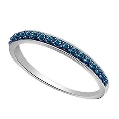 0.25 Ct Blue 14K Solid White Gold Wedding Band Ring by JewelryHub on Opensky