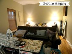 Welcome to part 2 of staging our home! If you missed part check it out here . When I first thought of what I would do in preparation . Decorating Small Spaces, Decorating Blogs, Declutter Home, Decluttering, Sell House Fast, Small Space Bathroom, Home Staging Tips, Eating Before Bed, Cozy Apartment
