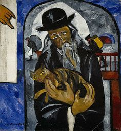 Rabbi with Cat, c.1912, Natalya Goncharova; the hand of God can be seen top left; the men in the background are Jews fleeing a pogrom; the rabbi and cat may draw an analogy between Virgin and Child. (National Galleries of Scotland)
