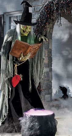 Amaze and surprise Halloween party guests and trick-or-treaters with the frightfully animated Spell Casting Witch.