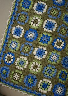 blue & green #crochet  #afghan  #blue  #green