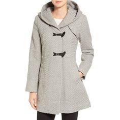 Women's Jessica Simpson Hooded Basket Weave Duffle Coat (10,680 INR) ❤ liked on Polyvore featuring outerwear, coats, grey, hooded toggle coat, gray coat, jessica simpson coats, hooded duffle coat and tweed coats