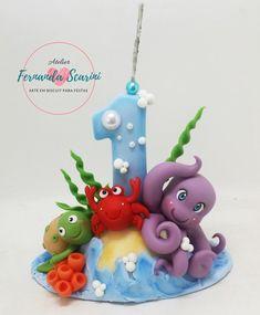 Baby Boy Cakes, Cakes For Boys, Fondant Letters, Sea Cakes, Clay Mugs, Sea Theme, Fondant Figures, Baby Shark, Flower Tutorial