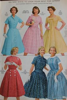 Fashions from the 1958 Simpsons Sears catalogue