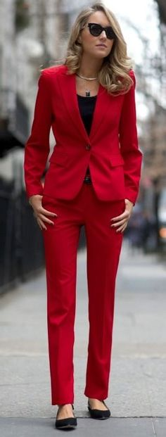 FASHION FIX: Power Suits! Noting makes a statement like a well tailored red suit!