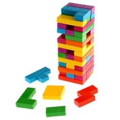 The classic game of Jenga now has an added Tetris twist! Two awesome games have joined forces to bring you Tetris Jenga; the ultimate game for family entertainment! For ages 8 and up.