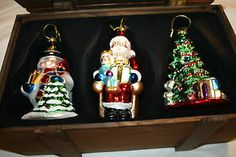 3 Piece Thomas Pacconi Classics Ornaments 2002 Wooden Crate Christmas Tree Santa