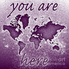 World Map Novo with 'You Are Here' text In Purple by elevencorners. World map wall print decor. #elevencorners #mapnovo