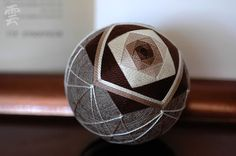 "Japanese temari - ""I'm Here - the Snow Falling"" - home decor ornament - traditional embroidery - brown sphere - crafting for a cause"