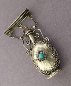 Vintage Israel Perfume Bottle Pin Sterling Silver 925 Antique Brooch