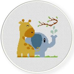 Giraffe With Elephant Cross Stitch Illustration
