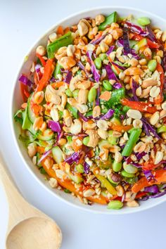 This recipe for Thai Crunch Brussels Sprouts couldn't be more colorful. With fresh ingredients like green onions, carrots, peppers, cucumber, red cabbage, edamame, cilantro, peanuts, and cashews—it's a cornucopia of crunch and flavor.