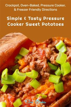 Quick and tasty, cheap and easy chili cheese crockpot sweet potato recipe! With slow cooker, oven-baked, pressure cooker, & freezer friendly directions! I hope this recipe helps you in finding quick and easy dinner ideas. Enjoy! | Slow Cooker Kitchen Crockpot Sweet Potato Recipes, Pressure Cooker Sweet Potatoes, Slow Cooker Kitchen, Oven Baked, Freezer Meals, Slow Cooker Recipes, Crock Pot, Dinner Ideas, Chili