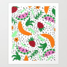 Fruit Party II Art Print by Bouffants and Broken Hearts - $25.00