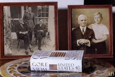 Gore Vidal's Villa  Among the author's family photographs is one of his father, Eugene Vidal, standing between Franklin Roosevelt and Henry Wallace. As a child, Gore Vidal was photographed with his blind grandfather, Senator Thomas Pryor Gore of Oklahoma.
