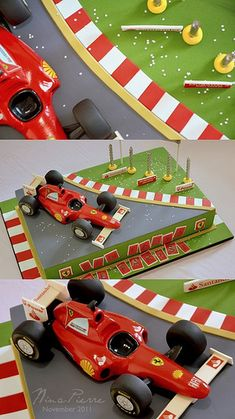My hubby would love this :) Ferrari Cake, Ferrari Party, Ferrari F1, Car Cake Toppers, Fondant Toppers, Car Cake Tutorial, Race Car Themes, Race Car Cakes, Car Themed Parties