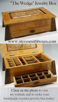 This handmade wooden jewelry box opens up to reveal two tiers of storage; the top two drawers slide and are removable. There is also a bottom drawer for storing more rings, earrings, or other trinkets. This is one of the most unique gift ideas that will be treasured forever! $390