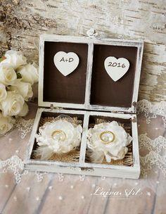Wedding Ring Bearer Pillow Box Personalized Wedding Ring Pillow Box Rustic…