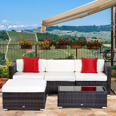 Sol 72 Outdoor™ Merlyn 11 Piece Sectional Seating Group with Cushions | Wayfair Outdoor Sofa Sets, Outdoor Seating, Outdoor Spaces, Outdoor Dining, Patio Furniture Sets, Outdoor Furniture, Furniture Makeover, Furniture Ideas, Resource Furniture