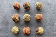 Matcha, coconut and cocoa bliss balls Bliss Balls, Matcha, Cocoa, Chocolate, Chocolates, Theobroma Cacao, Hot Chocolate, Brown