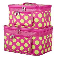 Ever Moda Pink and Green Polka Dots Cosmetic Makeup Train Case 2-piece >>> Check out this great product.