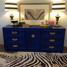 Goodwill Glam: Cobalt Faux Bamboo Dresser Reveal!!!!
