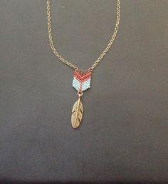 Collier chaîne bronze miyuki delica et perles rocaille : Collier par notreboiteabijoux
