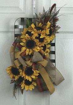 Sunflowers in a galvanized tobacco basket. Burlap Flower Wreaths, Easter Wreaths, Diy Wreath, Holiday Wreaths, Wreath Ideas, Door Wreaths, Tobacco Basket Decor, Basket Crafts, Summer Wreath