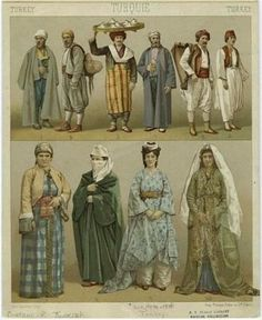 Turkey and the ottoman empire, history of fashion desing Historical Costume, Historical Clothing, Costume Tribal, Folk Costume, Middle Eastern Clothing, Empire Style, Arabian Nights, Ottoman Empire, Antique Prints