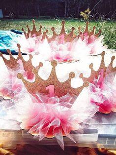 Princess Crown Tutu Centerpiece by DJoleiDesigns on Etsy Princess Birthday Centerpieces, Tutu Centerpieces, Crown Centerpiece, Birthday Party Decorations, Pink Princess Party, 1st Birthday Princess, Baby Shower Princess, 1st Birthday Girls, Creations