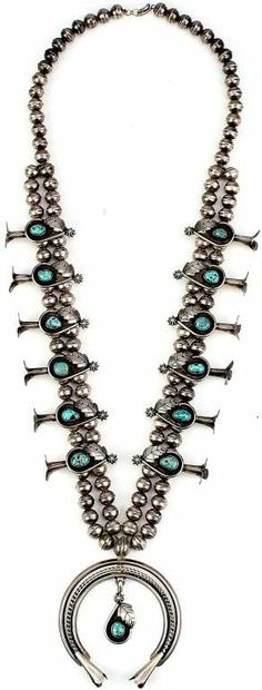 Navajo squash blossom necklace, sterling