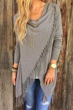 Charming Tassel Hem Asymmetric Loose Solid Color T-Shirt For Women