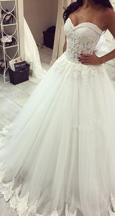 Romantic Tulle Lace Appliques Princess Wedding Dress 2016 Sweetheart_High Quality Wedding & Evening Prom Dresses at Factory http://Price-27DRESS.COM