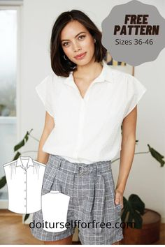 Sewing Patterns Free, Free Sewing, Sewing Ideas, Free Pattern, Shirt Tutorial, Sewing Pants, Fashion Magazines, Pants Pattern, Blouse Patterns