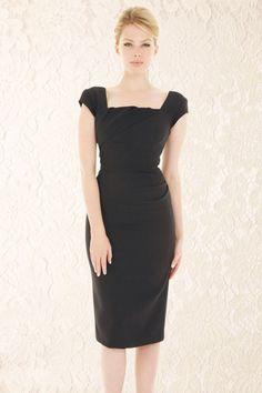The Pretty Dress Company Cara Luxe Black Crepe Pencil Dress 100 10 15639 1