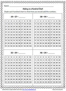 Math Coach's Corner: Recording Addition on a Hundred Chart (mental math strategies) Mental Math Strategies, Math Resources, Math Worksheets, Classroom Freebies, Math Classroom, Bilingual Classroom, Classroom Ideas, Hundreds Chart, 100 Chart