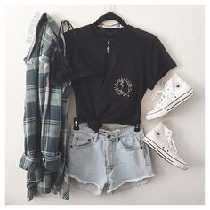 Summer teen, flannel outfits summer, hipster outfits for teens, outfits Hipster Outfits For Teens, Casual Summer Outfits For Teens, Summer Fashion For Teens, Teen Fashion Outfits, Mode Outfits, Trendy Outfits, Teenage Outfits, Fashion Clothes, Fashion Fashion