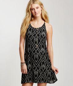 Textured Geometric Slip Dress