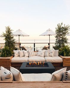 hotel outdoor The Surfrider, Malibu, California - - hotel Outdoor Spaces, Outdoor Living, Outdoor Decor, Outdoor Seating, Deck Seating, Outdoor Patios, Seating Areas, Outdoor Sheds, Outdoor Kitchens