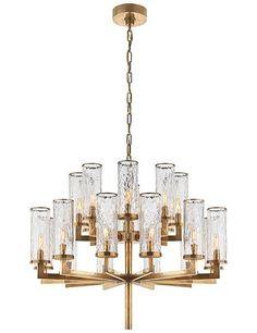 Liaison triple-tier chandelier in antique burnished brass; $7,350.