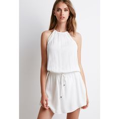 Forever 21 Crochet-Paneled Halter Dress ($23) ❤ liked on Polyvore