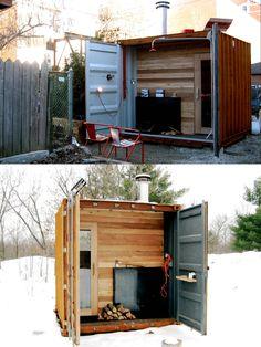 Castor Sauna box: wood-burning sauna built into a shipping container