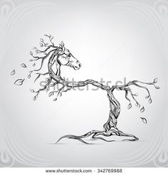 Silhouette of a horse from a tree
