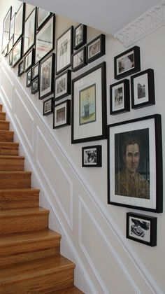 Gallery wall tied together by similar mat and frames - Kerra's Apartment In Dupont Circle, DC gallery wall layout Kerra's Apartment In Dupont Circle, DC Stairway Pictures, Gallery Wall Staircase, Staircase Wall Decor, Staircase Design, Picture Wall Staircase, Picture Frames On The Wall Stairs, Organisation Des Photos, Picture Arrangements On Wall, Photo Arrangement