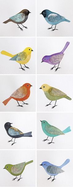 my love of birds.Geninne's Flock of Birds Watercolor Illustrations. Flock Of Birds, Love Birds, Beautiful Birds, Pretty Birds, Wild Birds, Angry Birds, Small Birds, Beautiful Pictures, Bird Illustration