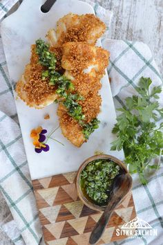 Fresh Chives, Fresh Herbs, Fresh Mint, The Fresh, Seafood Dishes, Seafood Recipes, Rockfish Recipes, Pacific Cod, Verde Sauce